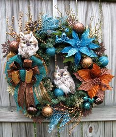 Teal, Copper and Brown Two Owl Christmas Wreath, with owls bought at http://www.trendytree.com https://www.etsy.com/listing/167072238/teal-copper-and-brown-two-owl-christmas #trendytree #christmaswreath