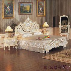 muebles de madera de lujo del dormitorio - cama barroca del dorado de la hoja de madera sólida-Camas-Identificación del producto:509312598-spanish.alibaba.com
