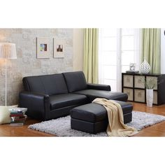 Like a grown-up puzzle, this sofa, chaise, ottoman combo set can be configured to meet your changing needs. A lounger, storage ottoman, coffee table and even a bed for the night, all in one.