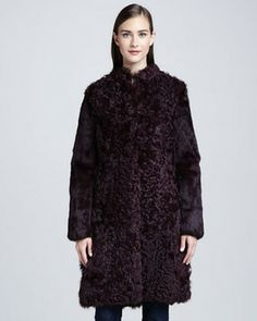 Trina Turk Rodeo Drive Curly Lamb Fur Coat