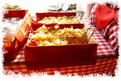 Fun BBQ Buffet Table Decorated with Picnic Squares