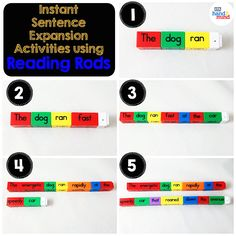 Reading Rods Sentence Construction Cubes For Kids Ages Learn Grammar, Usage And Punctuation, Visual Aid For Parts of Speech And Affixes, Homeschool Supplies (Set of Teaching Sight Words, Phonics Words, Sentence Building, Word Building, Homeschool Supplies, Homeschool Kindergarten, Literacy Stations, Literacy Centers, Sentence Construction