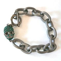 Gunmetal Textured Chain Link Bracelet with Green Pave by oiajules, $30.00