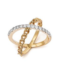 Diamond Double Row Ring with Cluster Center in 14K Rose Gold, .20 ct. t.w. | Bloomingdales's