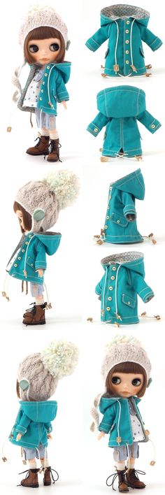 Blythe outfit Lucalily 467, winter - fall coat and hat