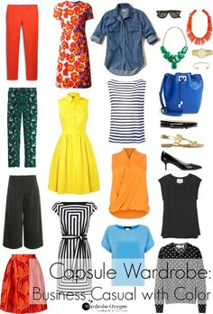 Summer capsule wardrobe - Business casual with color and personality, perfect…