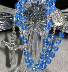 GHIRELLI OUR LADY OF LOURDES SILVER PLATED AND CRYSTAL BLUE AB ROSARY ITALY