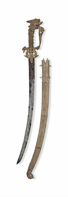 A FINE SILVER SINHALESE SWORD (KASTANE) - SRI LANKA, LATE 18TH/EARLY 19TH CENTURY