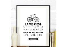 Affiche Numérique 'La vie c'est comme une bicyclette' - a télécharger : Décorations murales par affiche-rgb4you