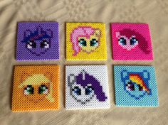 My Little Pony: Friendship Is Magic coaster set - $12.00 Buy it here! https://www.etsy.com/listing/175351289/perler-bead-my-little-pony-coaster-set