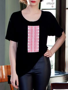 Tricou larg cu creste din mătase Urban, T Shirts For Women, Embroidery, Mens Tops, Clothes, Fashion, Outfits, Moda, Needlepoint