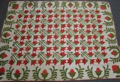 Red and Green Appliqued Quilt