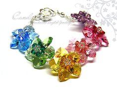 Swarovski bracelet Sweet Rainbow Flowers Swarovski by candybead
