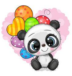 Cute cartoon panda with balloons vector Cute Panda Drawing, Cute Panda Cartoon, Teddy Bear Cartoon, Cute Cartoon Pictures, Cute Teddy Bears, Cartoon Pics, Cute Images, Cute Pictures, Disney Drawings