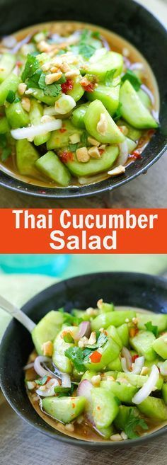 Thai Cucumber Salad - easiest and best homemade Thai cucumber salad recipe that is better than your favorite Thai restaurants, guaranteed | http://rasamalaysia.com
