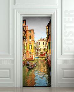 """Puerta ETIQUETA Venecia en góndola río de la ciudad de cine decole mural Viajes autoadhesiva 30x79 cartel """"(77x200 cm) /"""