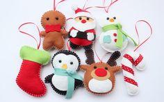 Set Felt Plush Christmas Ornaments - Santa Claus, Snowman, Gingerbread Man, Candy Cane and more - Merry Christmas Decor - Set of 7. $60.00, via Etsy.