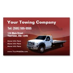 towing company white truck design business card - Auto Repair Business Cards
