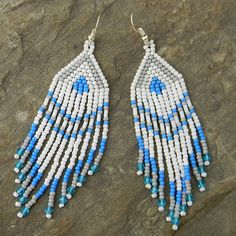 White Blue and Grey Native American Style Long by Anabel27shop