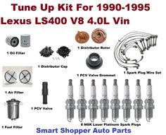 Tune Up Kit For 1990-1995 Lexus LS400 Spark Plug, Air Filter, PCV Valve, Cap Rot #AftermarketProducts