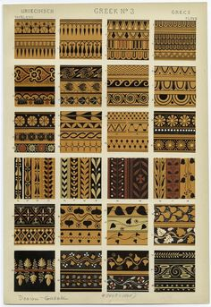 "Image Plate from Owen Jones' 1853 classic, ""The Grammar of Ornament"". Greek No. 3 from Owen Jones: The Grammar of Ornament. Greek Pattern, Pattern Art, Pattern Design, Print Design, Graphic Design Books, Book Design, Textures Patterns, Fabric Patterns, Tribal Patterns"