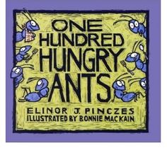 One Hundred Hungry Ants by Elinor Pinczes. A fun picture book for teaching division. Math Literature, Math Books, Reading Books, Teaching Numbers, Teaching Math, Teaching Ideas, Teaching Resources, Teach Preschool, Preschool Books