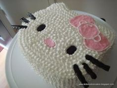 "Hello Kitty Cake - 10"" Round Covered in Buttercream with Fondant Accents and Licorice Whiskers"