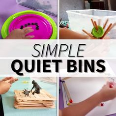 Find ideas for a YEAR's worth of quiet bins for kids! These ideas are amazing for independent play, fine motor work, and those long hours during the day after the kids stop napping. art for kids grade Simple Quiet Bins Quiet Time Activities, Preschool Learning Activities, Preschool Classroom, Toddler Activities, Preschool Activities, Outdoor Activities For Preschoolers, Preschool Name Crafts, Preschool Fine Motor Skills, Nanny Activities