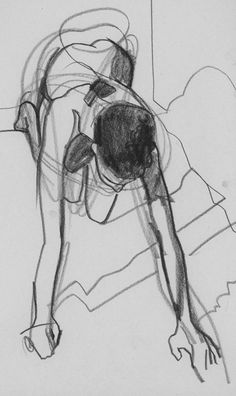 Gesture started with loops to lay in the torso and clarified/expanded with heavier marks for the silhouette, limbs, hair, and shadows. Gesture Drawing, Life Drawing, Figure Drawing, Drawing Sketches, Painting & Drawing, Art Drawings, Drawing Reference, Sketching, Character Design References