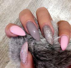 Pink grey & glitter nails