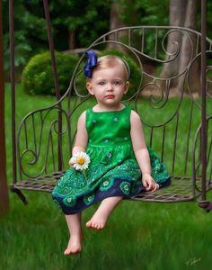 How cute...Little girl with daisy!