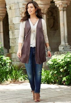 Faux Suede Laser Cut Vest- Plus