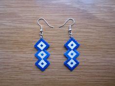 Pendientes rombos entrelazados azules hama beads by Ursula