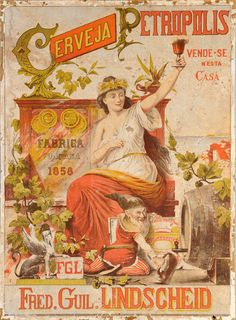 """Petropolis was the first brewery in Brazil and became the Imperial Factory of National Beer in the year and 20 years later it started the Bohemia Brewery. Board """"Art-Beer,Biere,Cerveza and Women. Vintage Advertising Posters, Old Advertisements, Vintage Labels, Vintage Travel Posters, Vintage Ads, Vintage Images, Vintage Signs, Vintage Prints, Rock Poster"""