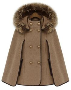 Camel Detachable Fur Lined Hood Contrast Trims Cape