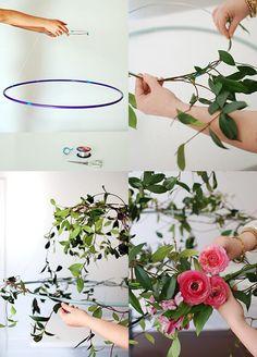 DIY - Faça você mesmo Como fazer um arranho de flores suspenso usando um bambolê, mesa de jantar, flores decorando, enfeite de eventos e casamentos.