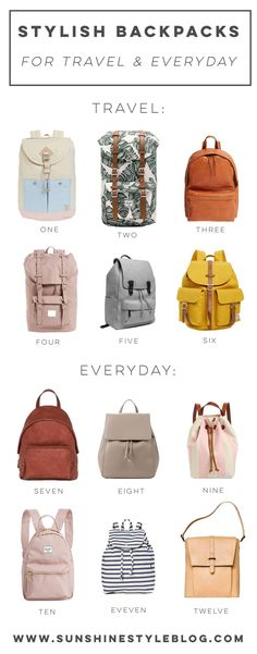 12 Stylish Backpacks For Travel And Everyday Backpacks For Travel Cute Backpacks For Travel Stylish Travel Bag Includes My Fav Backpack Brands From Herschel, Target, Shopbop, And Everlane - Sunshine Style Best Shoes For Travel, Best Travel Bags, Mens Travel Bag, Backpack Travel Bag, Backpack Brands, Travel Shoes, Herschel Backpack Outfit, Fashion Backpack, Travel Bags For Women