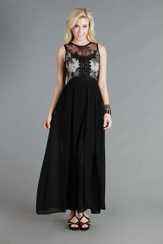 Full Length Black Nude Maxi Lace Dress