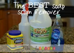 This is truly THE BEST soap scum remover. It works great and you probably have all 3 ingredients in your cupboard! www.fabulesslyfrugal.com