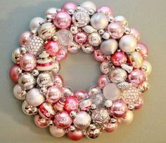 Pink and silver Christmas ornaments wreath