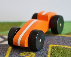 Toy Orange Race Car Handcrafted Wooden Toy Orange by McCoyToys