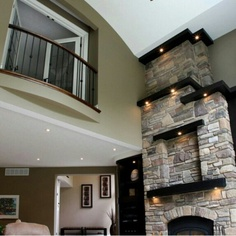 love the fireplace and balcony, doesn't need the wall. I would enjoy the balcony over the dining decorating before and after home design designs house design Style At Home, Home Design, Design Ideas, Cabin Design, Design Room, Layout Design, Future House, Traditional Family Rooms, Traditional Design