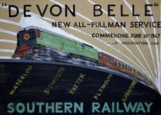 Vintage train posters on display at Darnley Fine Art gallery Train Posters, Railway Posters, Exeter, Poster Ads, Poster Prints, Plymouth, Train Tattoo, Europe Train, British Travel