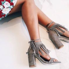 grey fringe heels