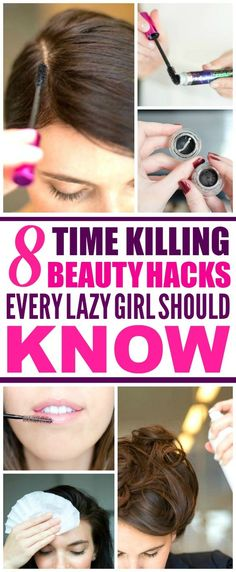These 8 Lazy Girl Beauty Hacks are THE BEST! I'm so happy I found these GREAT tips! Now I have a great way to save time on busy mornings! Definitely pinning!
