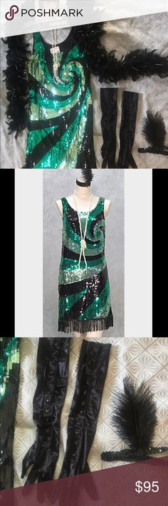 """Charades Sequin Flapper Dress and Accessories M Roaring 1920s Flapper Gangster Halloween Costume with all accessories! Worn once. Medium. Swirl jade green/black, sequins, fringe hem. Stretchy material, some give. Length w/fringe: 37"""". Armpit to armpit: 18.5"""". Waist/hips: 20.5"""" across. At 5'11"""", it is slightly above my knees. Modest Halloween costume. Check my Mary Jane shoe listings. Cosplay. Includes: Dress Black/silver feather boa White pearl necklace Silky short bob wig Homemade wig cap…"""