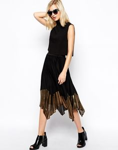 River Island Pleated Midi Skirt With Gold Hem