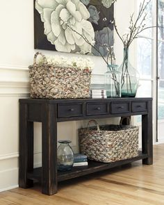 Signature Designs by Ashley Gavelston Black Sofa Table by Signature Design by…