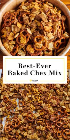 A step-by-step recipe for making the best oven-baked Chex mix, plus a helpful formula for using whatever snacks and cereals you have. Snack Mix Recipes, Appetizer Recipes, Cooking Recipes, Snack Mixes, Recipe For Chex Mix Snack, Party Recipes, Baked Chex Mix Recipe, Nut Mix Recipe, Yummy Recipes