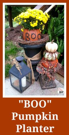 This pumpkin planter is the perfect addition to my fall decorations.